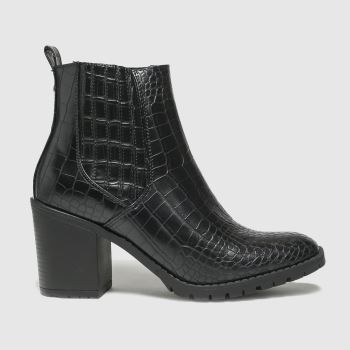 schuh Black Arielle Croc Heeled Chelsea Womens Boots