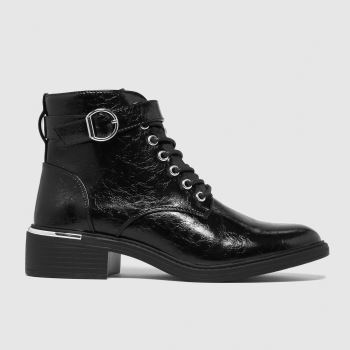 schuh Black Cora Patent Metal Lace Up Womens Boots