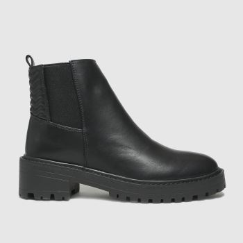 schuh Black Adeline Quilt Detail Chelsea Womens Boots