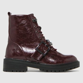 schuh Burgundy Aspen Chain Lace Up Womens Boots