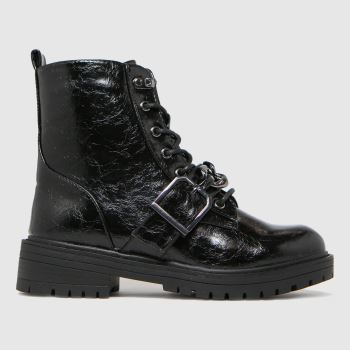 schuh Black Aspen Chain Lace Up Womens Boots