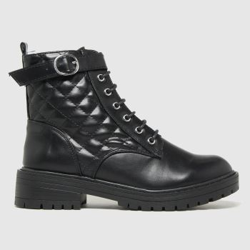 schuh Black April Lace Up Buckle Womens Boots