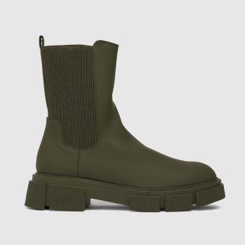 schuh Dark Green Aniston Chunky Chelsea Womens Boots
