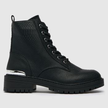 schuh Black Amanda Snake Hardware Lace Up Womens Boots