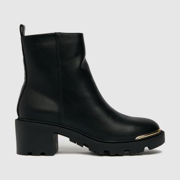 schuh Black Amber Chunky Heeled Womens Boots