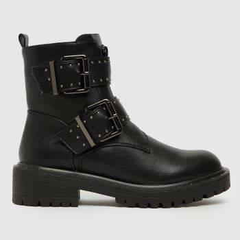 schuh Black Ashen Chunky Zip Buckle Womens Boots