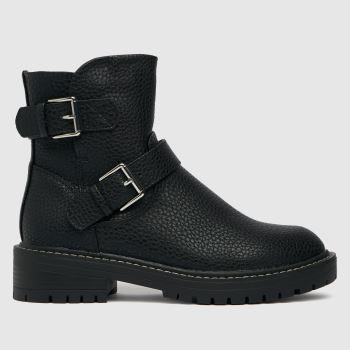schuh Black Wide Fit Ashley Biker Womens Boots
