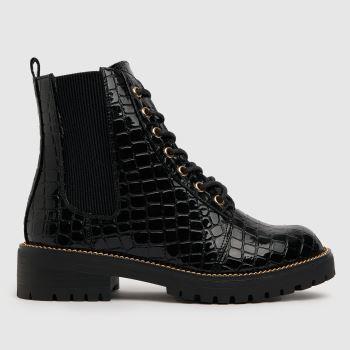 schuh Black Ainsley Croc Chain Detail Lace Womens Boots