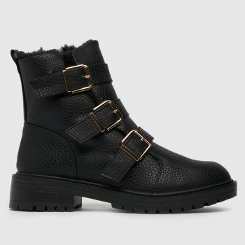 schuh Black Azalea Faux Furline Boot Womens Boots