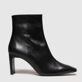 schuh Black Bee Leather Square Toe Womens Boots#