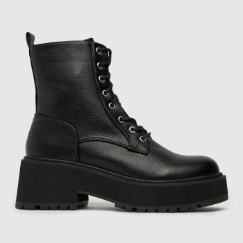 Shellys London Black Lace Up Womens Boots