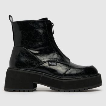 Shellys London Black Crinkle Zip Front Womens Boots