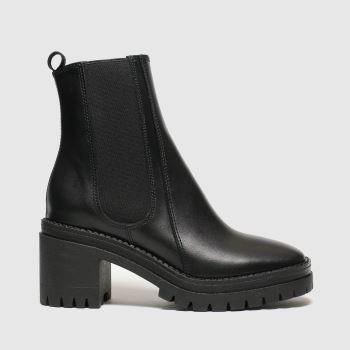 schuh Black Encourage Leather Cleated Womens Boots#