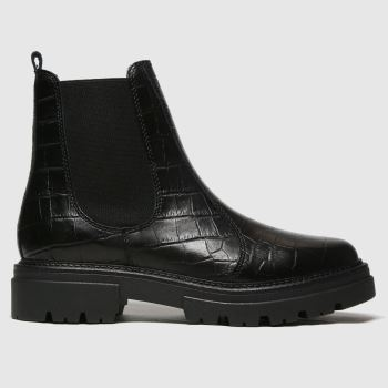 schuh Black Arlo Croc Leather Ankle Womens Boots