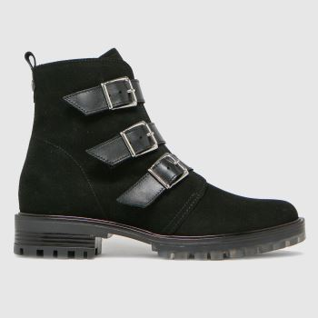 schuh Black Anise Suede Multi Buckle Womens Boots