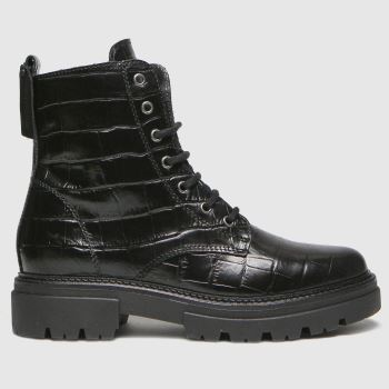 schuh Black Arabella Croc Leather Lace Up Womens Boots