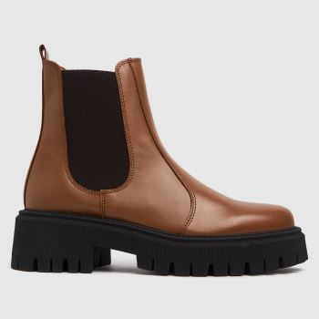 schuh Tan Avelina Leather Chunky Chelsea Womens Boots