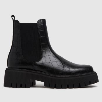 schuh Black Avelina Leather Chunky Chelsea Womens Boots