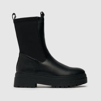 schuh Black Amore High Cut Stretch Chunky Womens Boots