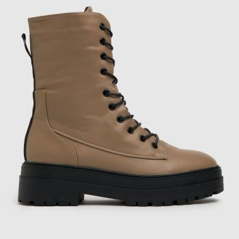schuh Natural Aileen High Cut Lace Up Womens Boots