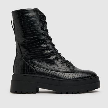 schuh Black Aileen Croc High Cut Lace Up Womens Boots