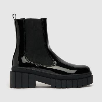 schuh Black Ada Chunky Patentchelsea Womens Boots