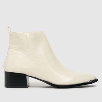 schuh White Cleo Croc Block Heel Boots