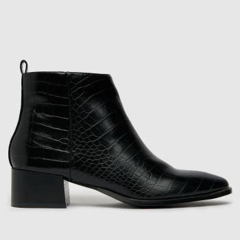 schuh Black Cleo Croc Block Heel Womens Boots
