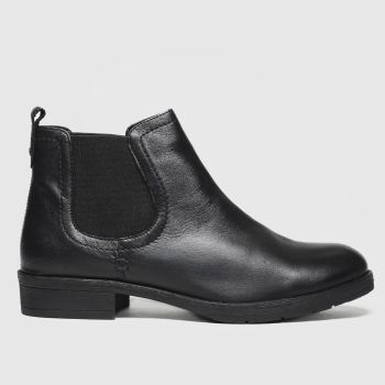 Schuh Black Release Leather Chelsea Womens Boots#