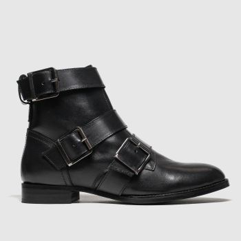 Schuh Black Buckle Up Womens Boots
