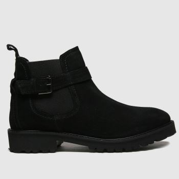 schuh Black Aysha Suede Buckle Chelsea Womens Boots