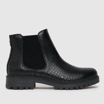 Blowfish Malibu Black Reeves Croc Chelsea Vegan Womens Boots
