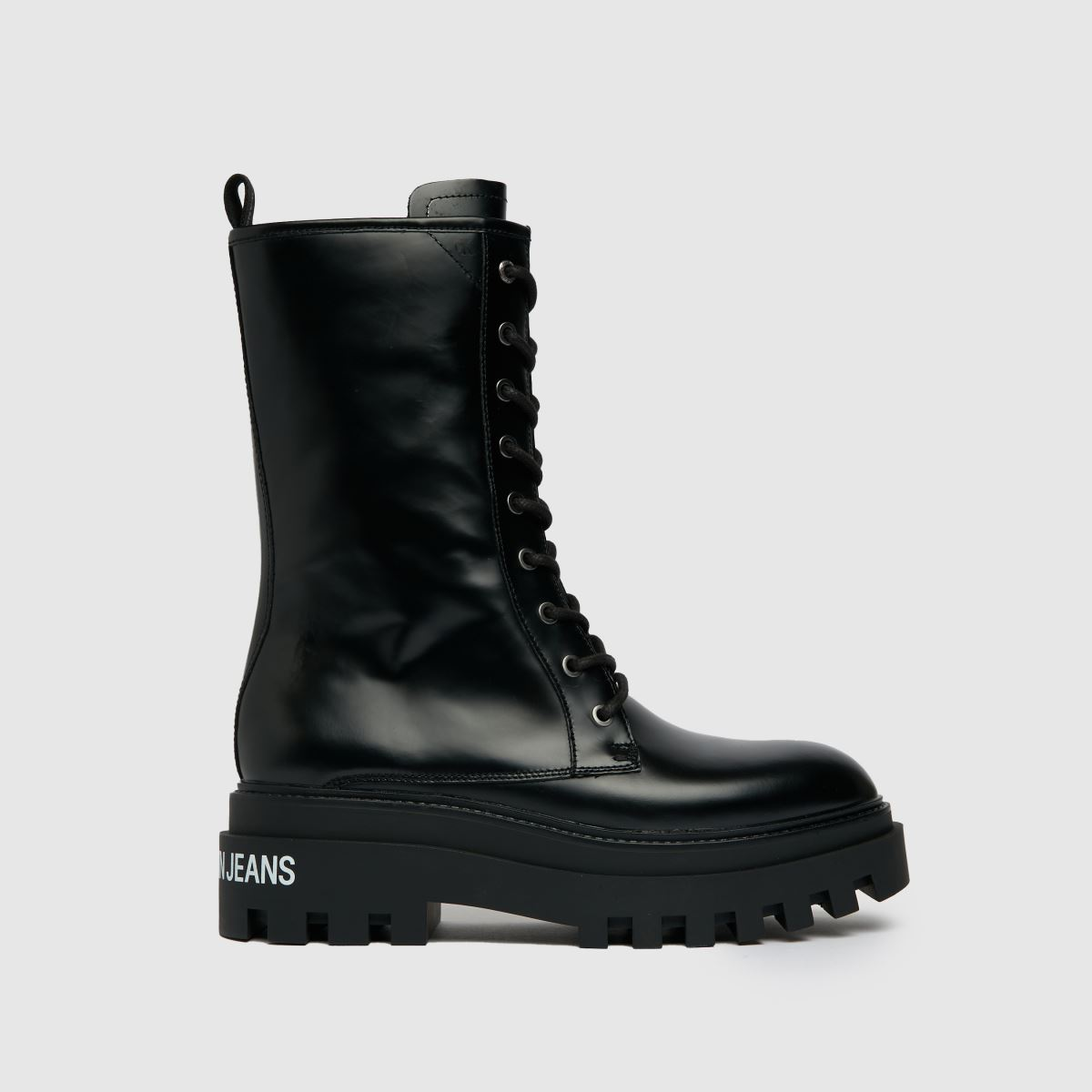 CALVIN KLEIN Black Flatform Lace Up Boot Trainers