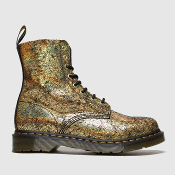 Dr Martens Gold 8 Eye Iridescent Crackle Womens Boots