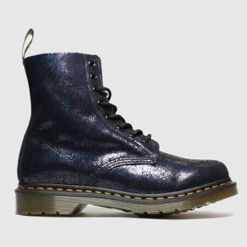 Dr Martens Black 8 Eye Iridescent Crackle Boots