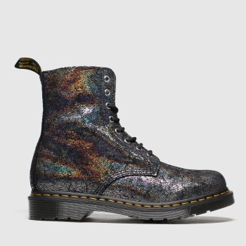 Dr Martens Grey 8 Eye Iridescent Crackle Boots