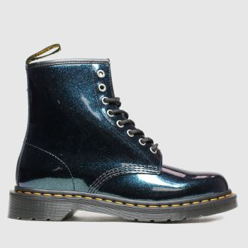 Dr Martens Dark Green 8 Eye Sparkle Womens Boots