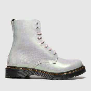 Dr Martens Pale Pink 8 Eye Iridescent Croc c2namevalue::Womens Boots