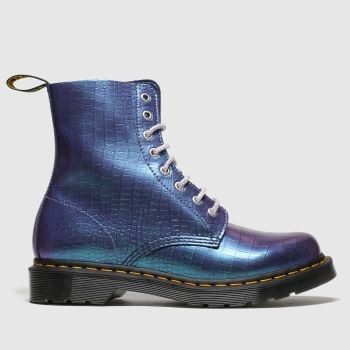 Dr Martens Blue 8 Eye Iridescent Croc Womens Boots
