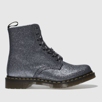 Dr Martens Grey Pascal 8 Eye Boot Glitter Womens Boots