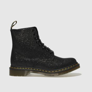 Dr Martens Black & Silver Pascal 8 Eye Glitter Womens Boots