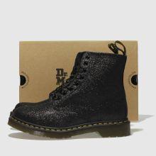 051c49fb6 womens black & silver dr martens pascal 8 eye glitter boots | schuh