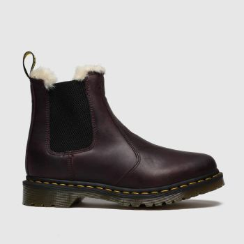 Dr Martens Purple Leonore Fur Lined Chelsea c2namevalue::Womens Boots