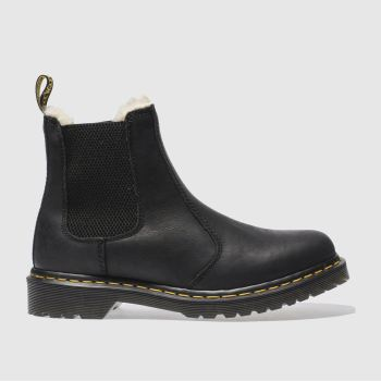 Dr Martens Black Leonore Fur Lined Chelsea Womens Boots