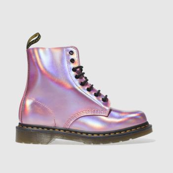 DR MARTENS PINK PASCAL RS 8 EYE METALLIC BOOTS