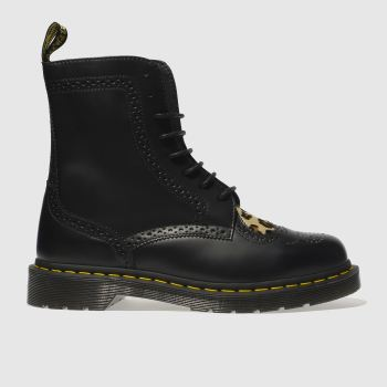 DR MARTENS BLACK & BROWN BENTLEY II HEART BOOTS