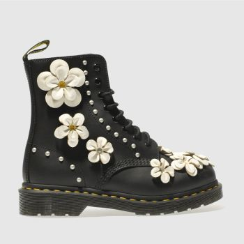 Dr Martens Black Pascal 8 Eye Flower Womens Boots