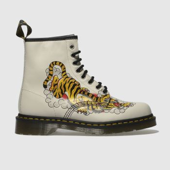 Dr Martens Stone & Black 1460 Grez Tattoo Tiger Womens Boots