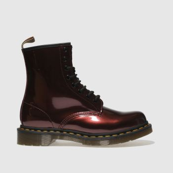 Dr Martens Burgundy 1460 Vegan Chrome 8 Eye Womens Boots
