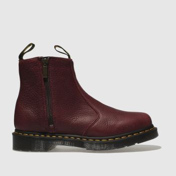 Dr Martens Burgundy 2976 Zip Chelsea Womens Boots